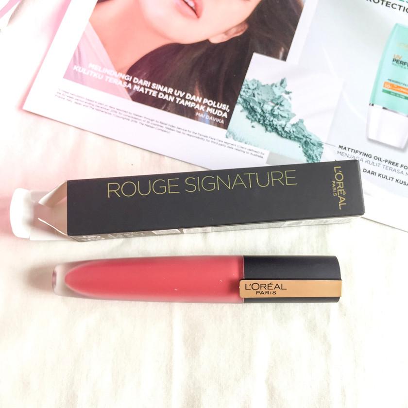Review Loreal Paris Liquid Lipstik Matte Rouge Signature Make Up Indonesia