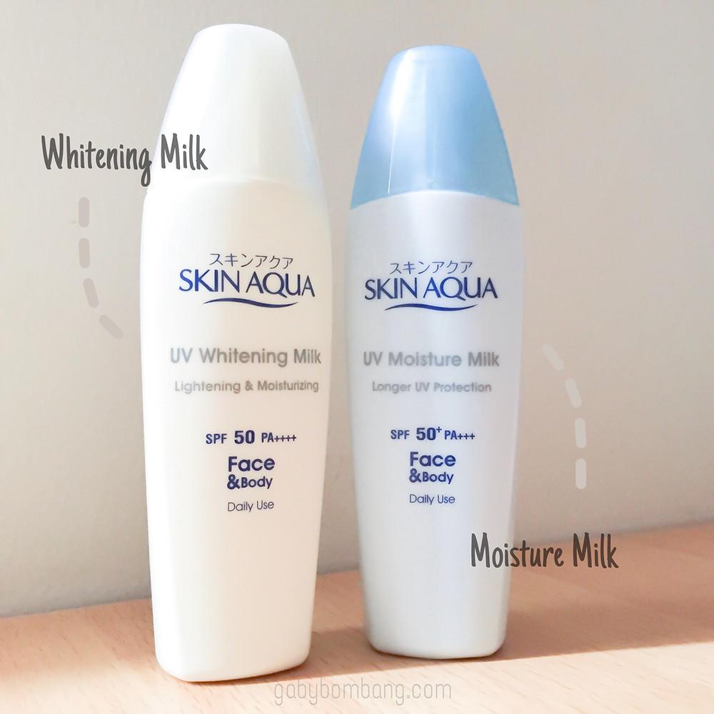 Skin Aqua UV Whitening Milk SPF 50 vs UV Moisture Milk SPF 50