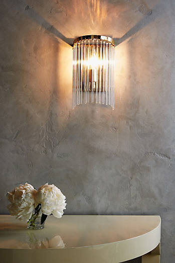 1920's Wall light inspired fitting - Cascades of glass fall like fringes from a Deco-inspired frame