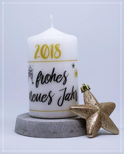 """Kerze """"frohes neues Jahr"""""""