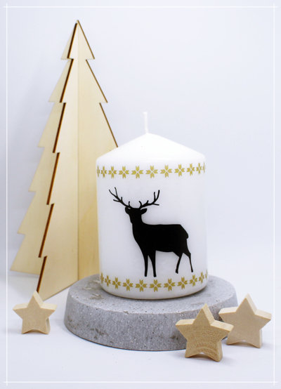 "Kerze ""Nordic Deer Black"""