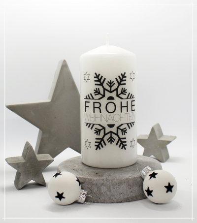 "Kerze ""Schneeflocke Frohe Weihnachten"""