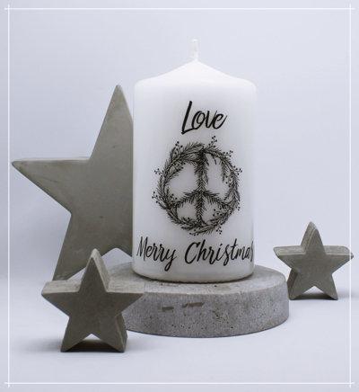 "Kerze ""Christmas Peace schwarz"""