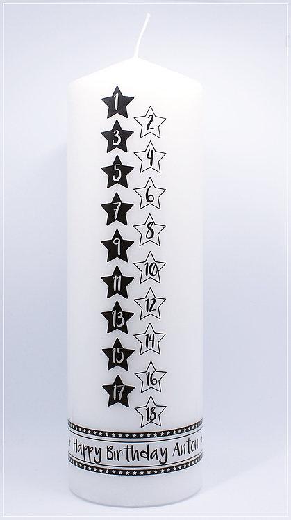 "Lebenskerze""Sterne schwarz"""