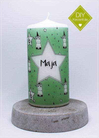 "DIY Kerzenfolie ""Einhörner grün - Individuell"""