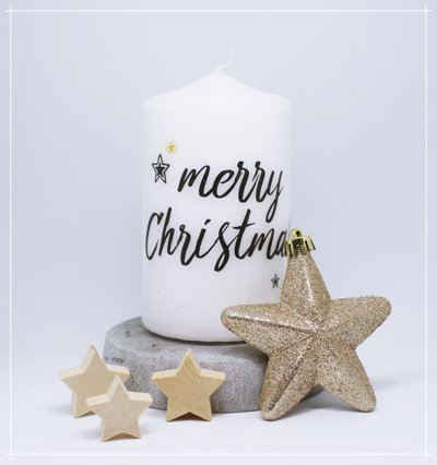"""Kerze """"merry Christmas"""""""