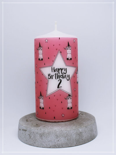 "Kerze ""Einhörner pink - Standard"""
