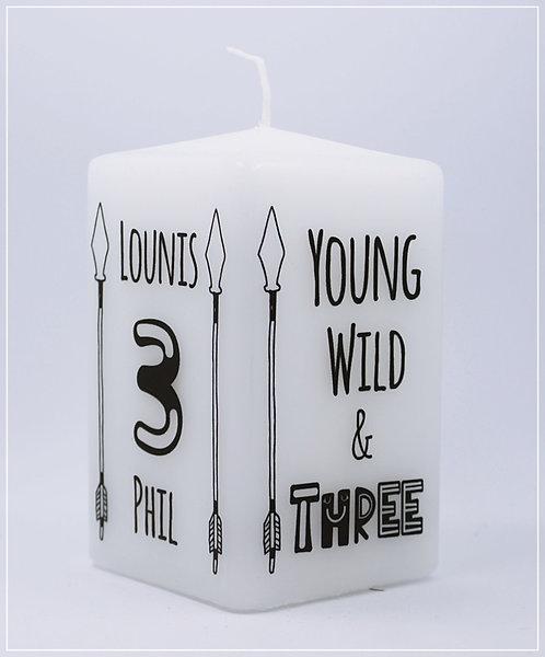 "Geburtstagskerze ""young wild and three"""