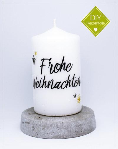 """DIY Kerzenfolie """"Frohe Weihnachten"""""""