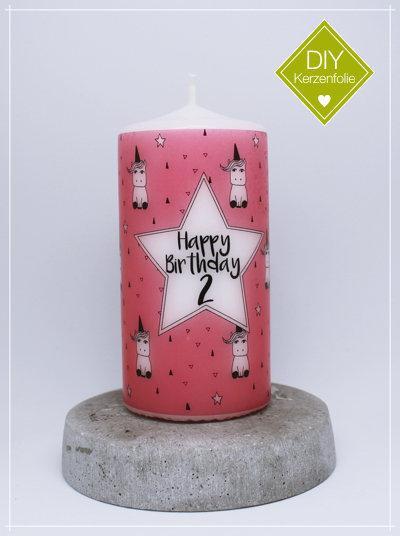 "DIY Kerzenfolie ""Einhörner pink - Standard"""