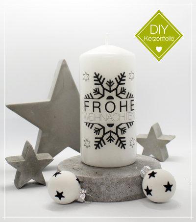 """DIY Kerzenfolie """"Schneeflocke Frohe Weihnachten"""""""