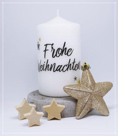 "Kerze ""Frohe Weihnachten"""