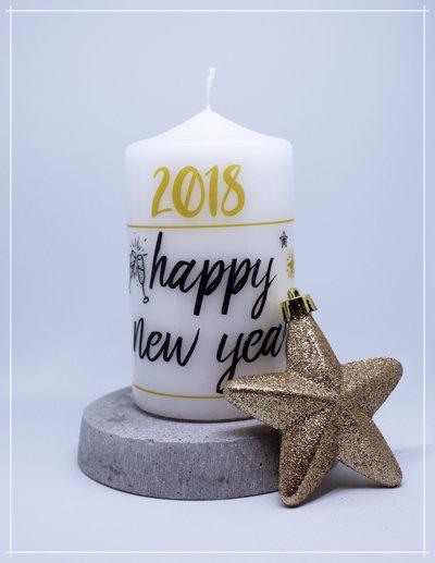 "Kerze ""happy new year"""