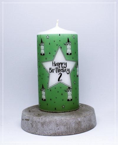 """Kerze """"Einhörner grün - Standard"""""""