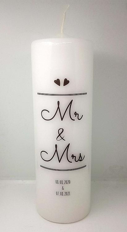 """Hochzeitskerze """"Mr & Mrs"""""""