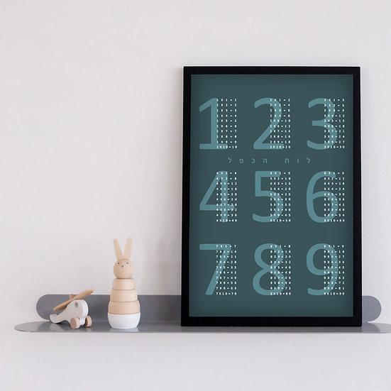פרינט לוח הכפל כחול - 40*30 PRINTABLE