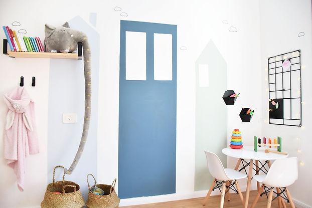 עיצוב דרילדים - קיר בתים