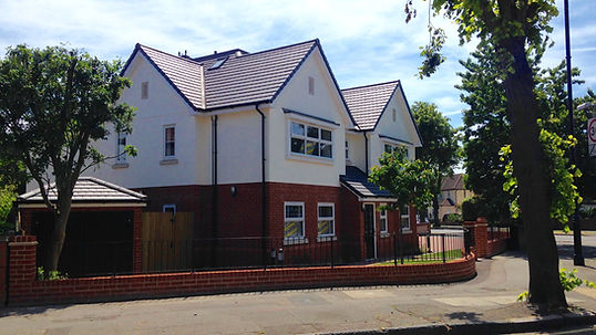 New Build Houses, Havering - Sandtoft Tiles, Lead Dormers, Sarnafil Warm Roof System, Canopy Roof, Downpipe, Lead ridges, Lead Cappings, Dry Fix Ridges