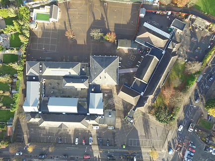Aerial view of replacement Radmat Esha Warm Roof Felt System