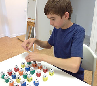 Vision Therapy patient doing Multi-Matrix cubes