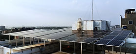 Image of Solar Rooftop Power System Installation in Bangalore at Whitefield for an apartment.