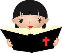 little cartoon girl reading the Bible.pn