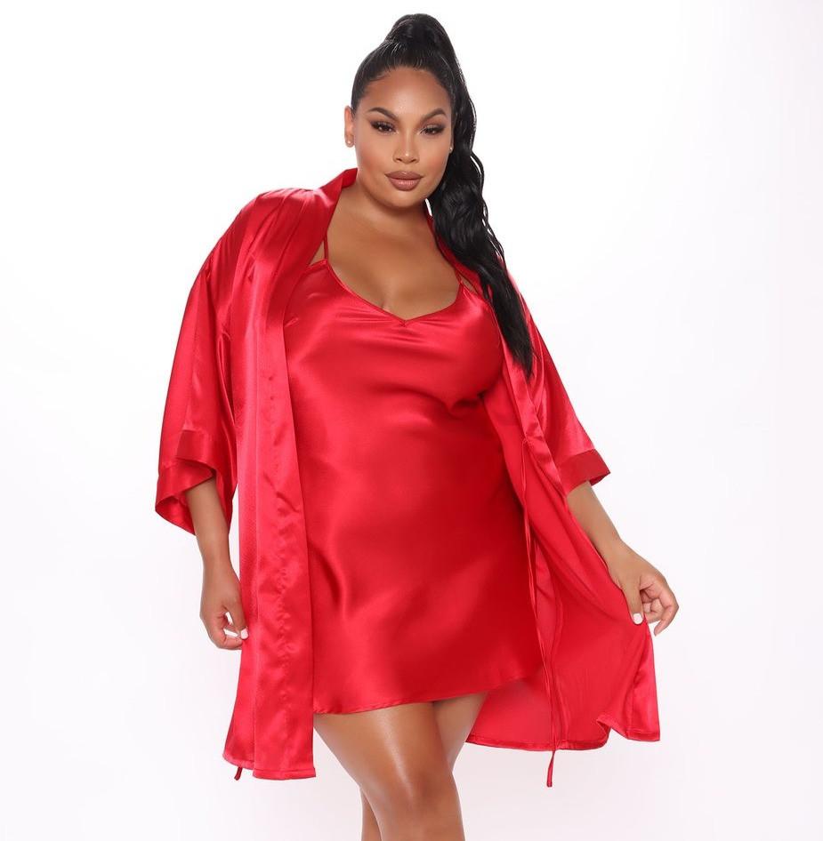 Fashion Nova Satin Red Robe Set