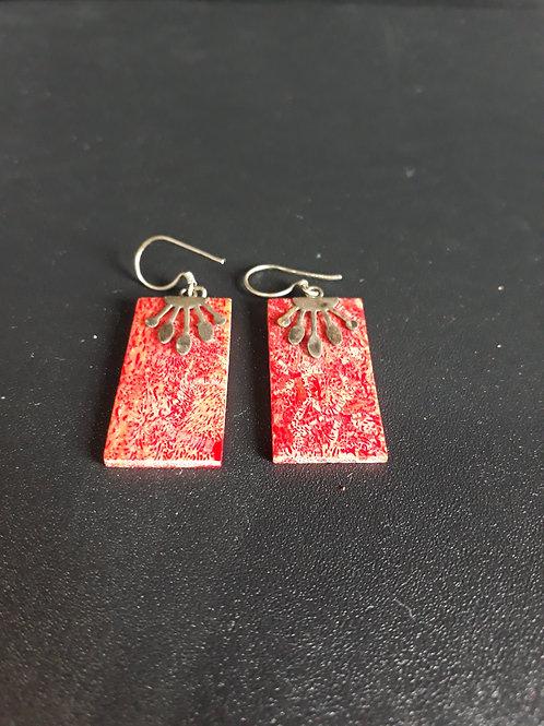 Brinco de pedra Coral Vermelho e Prata