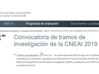 Convocatoria de tramos de investigación de la CNEAI 2019: Convocatoria y criterios de evaluación
