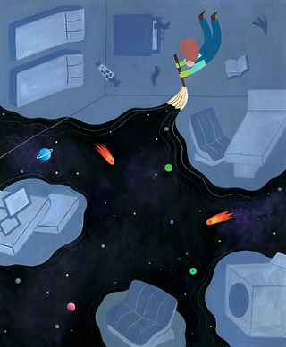 "Illustration for Amber Spark's short story, ""Janitor in Space"""