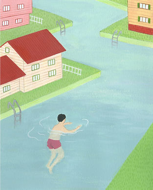 "Illustration for John Cheever's short story, ""The Swimmer"""