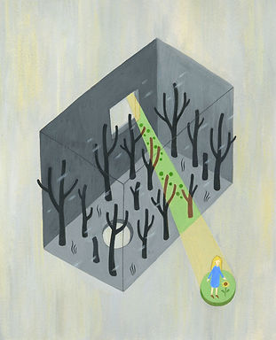 "Illustration for Ray Bradbury's short story, ""All Summer in a Day"""