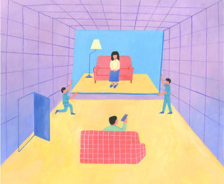 "Illustration for Haruki Murakami's short story, ""TV Peope"""