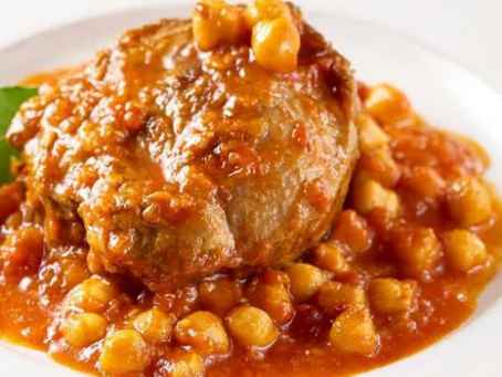Pork Cheeks Braised with Chickpeas and Tomato