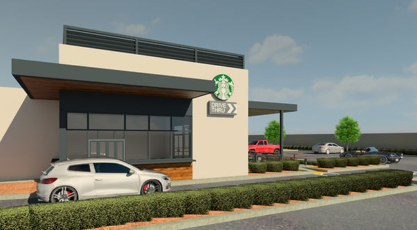 architecture, 3D rendering, drive-thru, starbucks