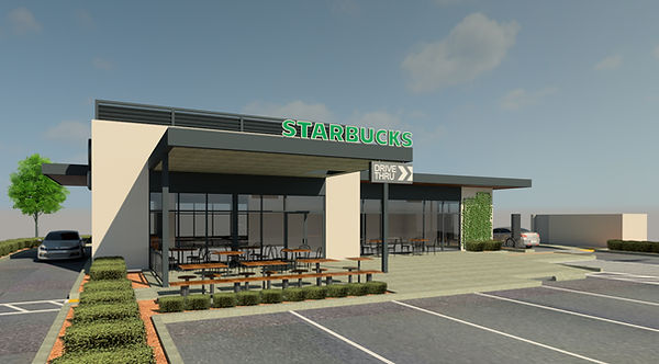 architecture, 3D rendering drive-thru, starbucks