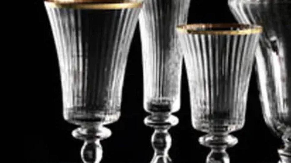 Flute Royal in vetro soffiato  di Murano  Nason Moretti due fili oro