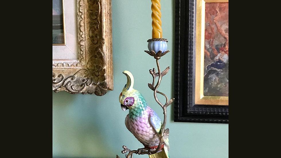 Candeliere pappagallo in ceramica