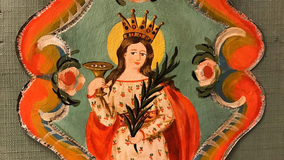 Santa Lucia decorata su latta artigianato siciliano