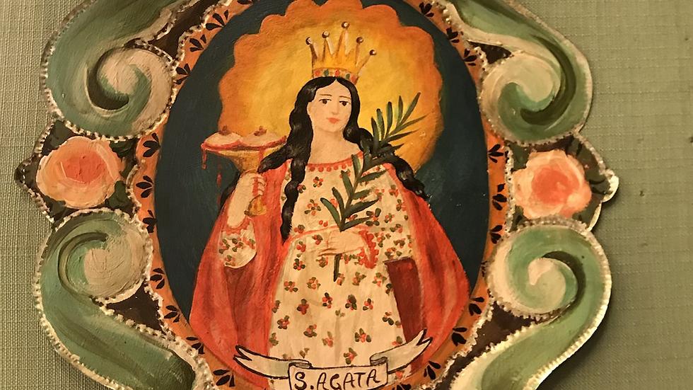 Santa Agata  su metallo decorata a mano  37 x 26