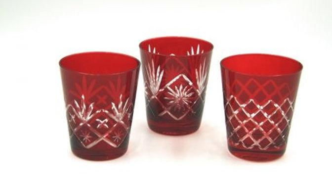 N 6 bicchieri rossi in cristallo molato