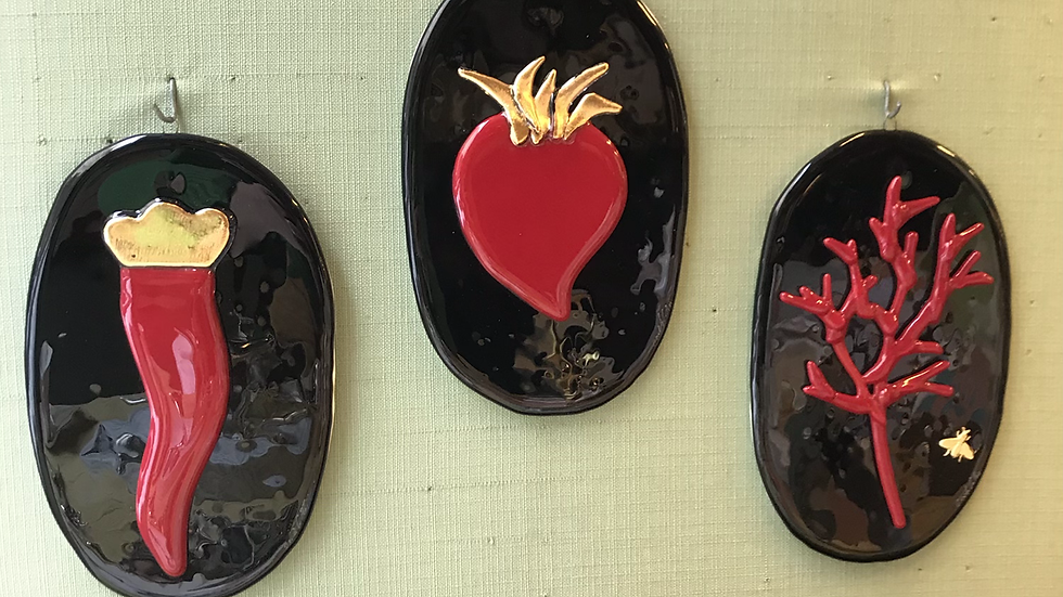 Set tre ovali da appendere  in vetro di Murano lavorato a mano