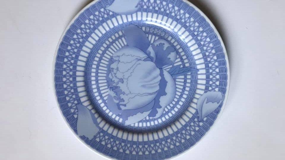 """Piatto frutta decoro """" Peonie blu"""", Hermes"""