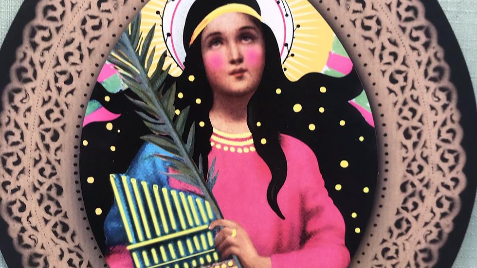 Santa Cecilia patrona  dei musicisti e dei cantati cm 21