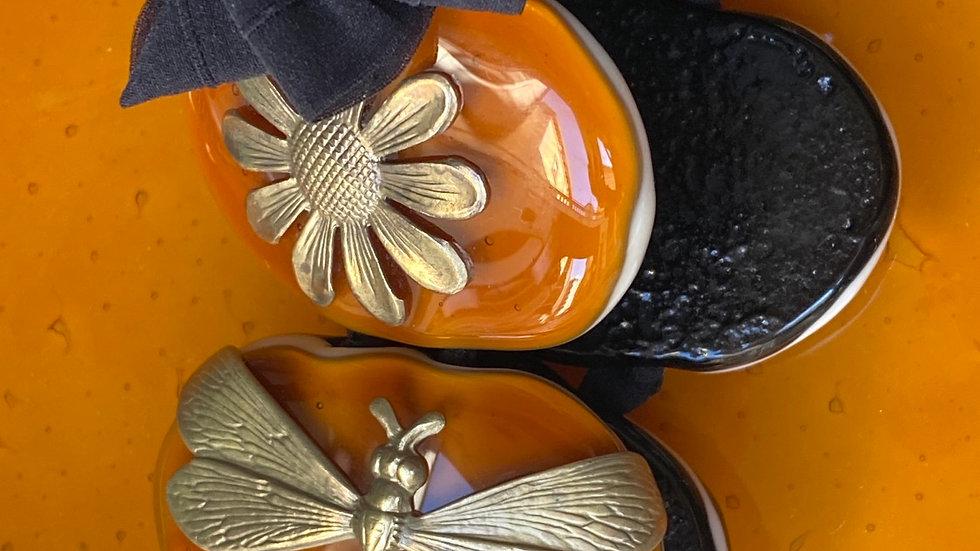 Bracciale in vetro fuso di Murano  caramello