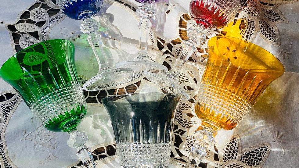 Sei bicchieri  in cristallo  di Bohemia 6 colori