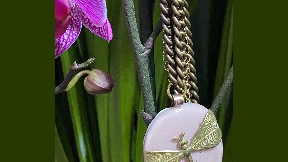 Collana in vetro fuso di Murano rosa