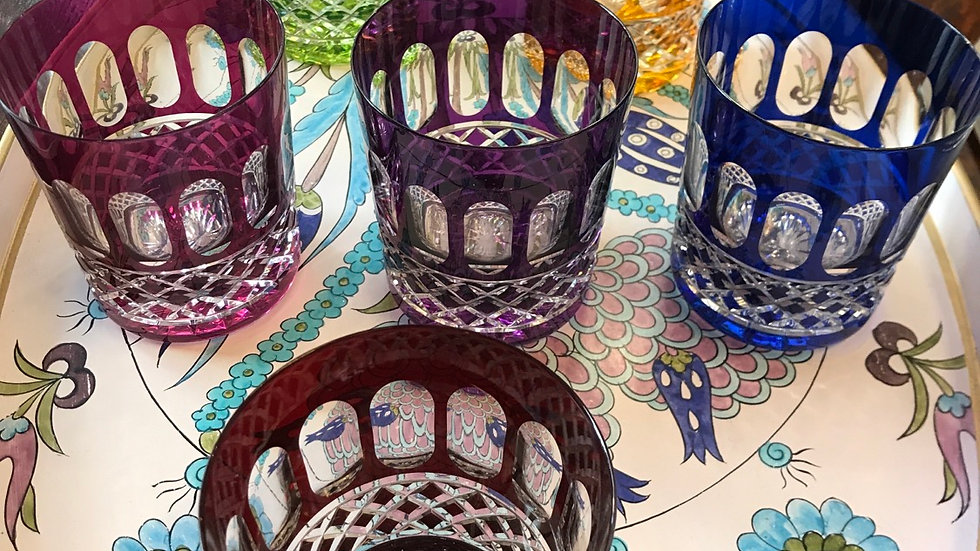 Sei bicchieri colorati Bohemia doppia incamiciatura