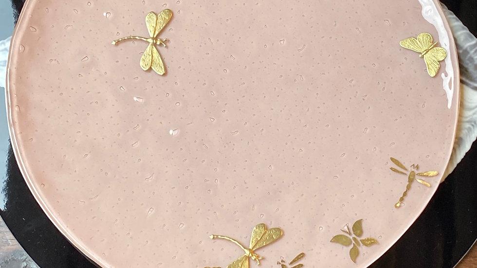 Piatto cm 31 in  vetrofuso  di Murano  con applicazioni e decori oro