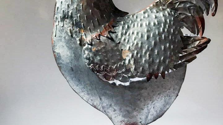 Gallo in metallo argentato